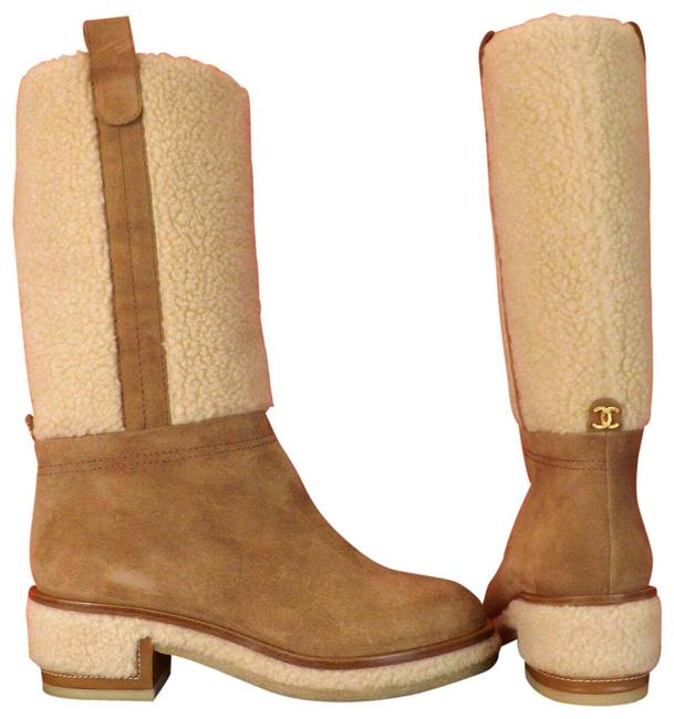 Item - Brown Beige Suede Faux Shearling Cc Logo Knee High Boots/Booties Size EU 39.5 (Approx. US 9.5) Regular (M, B)