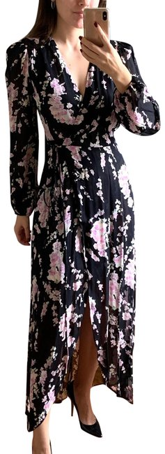 Item - Black Pink White Wrap Floral Long Casual Maxi Dress Size 6 (S)