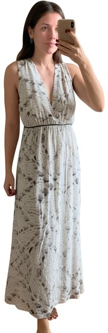 Item - Gray White Knitted Print Long Casual Maxi Dress Size 6 (S)
