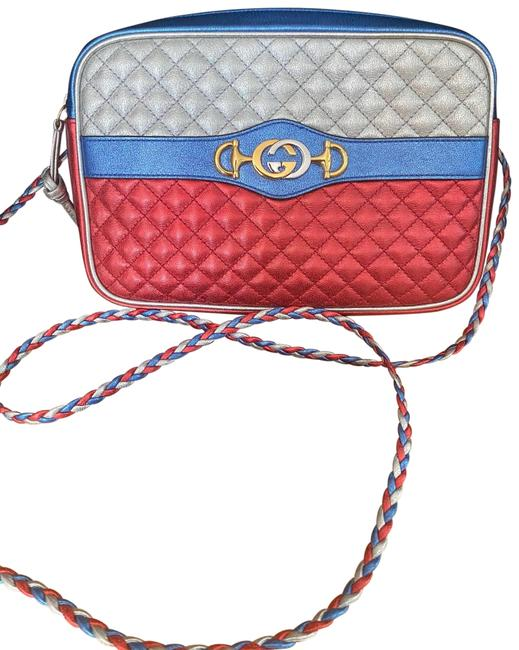 Item - Trapuntata Camera Cranberry/Blue/Silver Metallic Leather Cross Body Bag