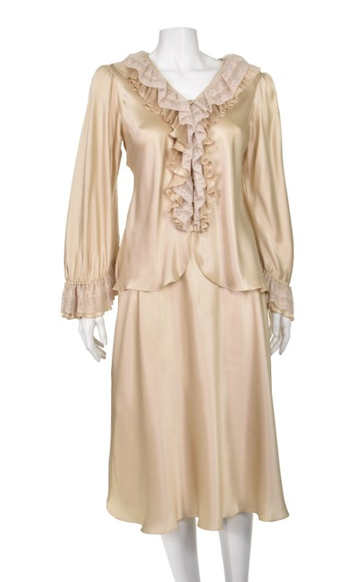 Item - Champagne Beige Vintage Silk Charmeuse and Lace 2-piece Mid-length Cocktail Dress Size 10 (M)