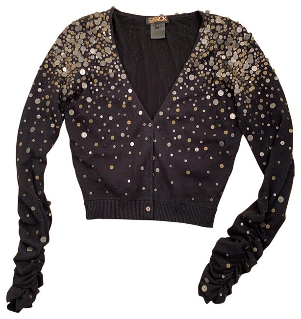 Item - Black New Cashmere Sweater with Embellished Sequin Detail Cardigan Size 4 (S)