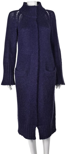 Item - Purple Fuzzy Mohair Long Knit Sweater Coat Size 6 (S)