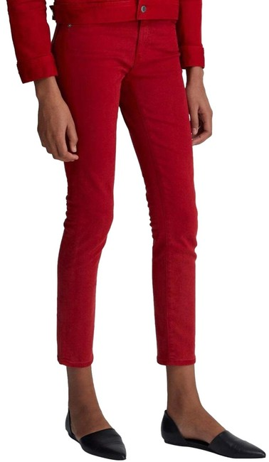 Item - 1 Yeah Hi White Clever Red The Prima Ankle Cigarette Skinny Jeans Size 00 (XXS, 24)