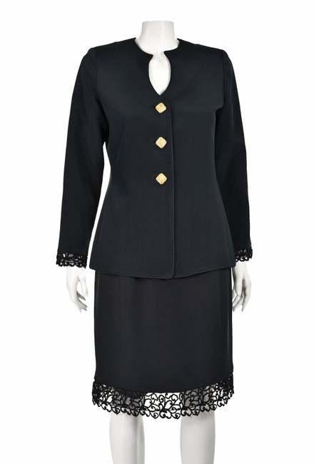Item - Black Silk Cocktails and Dinner with Rhinestone Buttons Skirt Suit Size 6 (S)