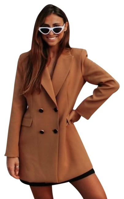 Item - Brown Double Breasted Frock Coat Buttoned Blazer Size 4 (S)