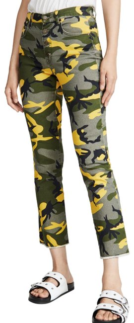 """Item - Yellow Camo Exposed Button Kick Flare """"Nwt"""" Pants Size 2 (XS, 26)"""