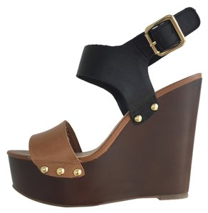 Steve Madden Black and Tan Wedges
