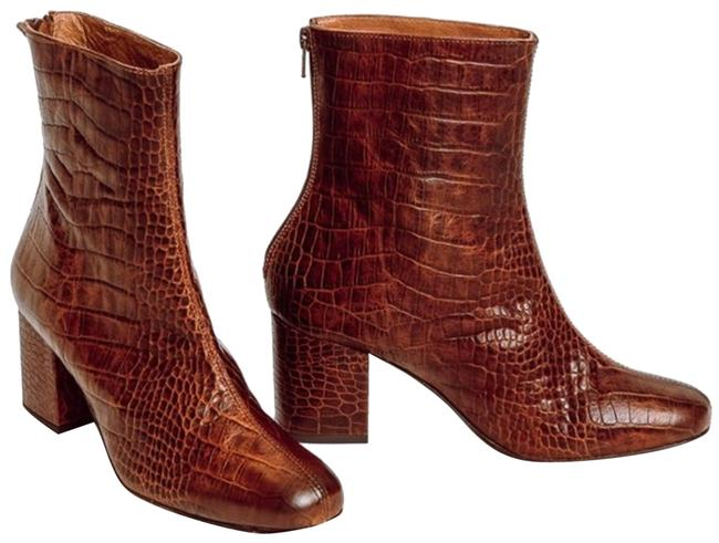 Item - Brown - Faux Croc Boots/Booties Size EU 38 (Approx. US 8) Regular (M, B)