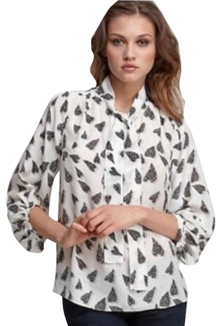 Item - White Grey Black Bairly Louche Blouse Size 6 (S)