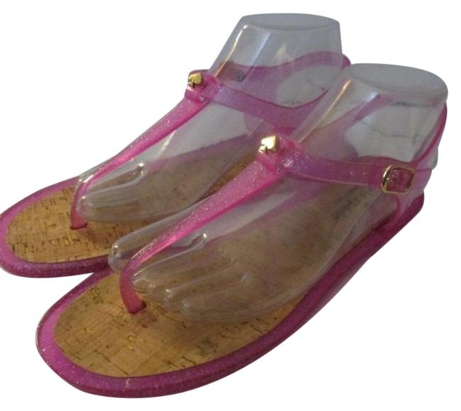 Item - Pink Silver Jelly Glitter Thong Flats Sandals Size US 9 Regular (M, B)