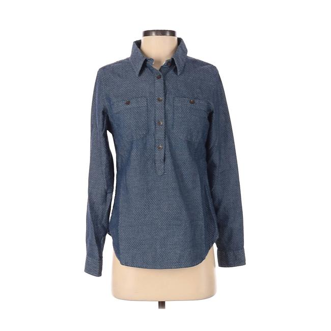 Item - Blue Polka Dot Chambray Popover Small Long Sleeve Button-down Top Size 6 (S)