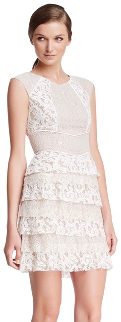 Item - White Nude Tiered Lace Ruffle Bridal Short Cocktail Dress Size 8 (M)