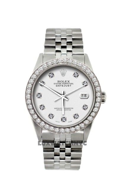 Item - White Dial 2ct 36mm Unisex Datejust S/S Diamond with Appraisal Watch