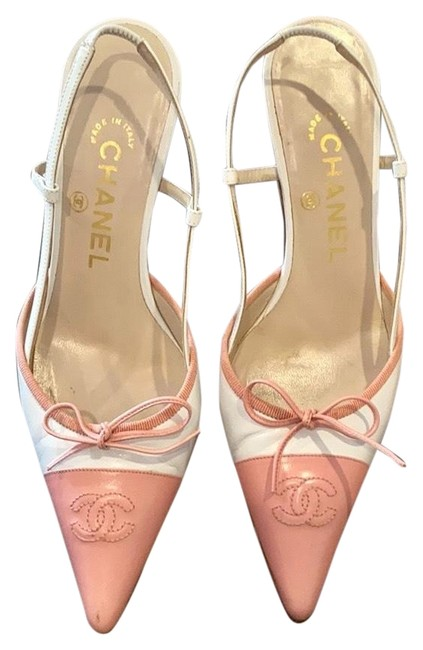 Item - White/Pink W Fabulous Sling Back Pointy Toe Heels Combination Of And Pumps Size US 6.5 Regular (M, B)