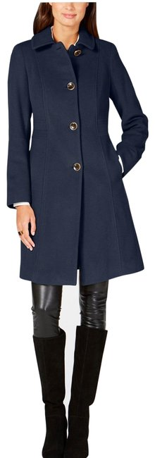 Item - Navy Single Breasted Club-collar Coat Size 10 (M)