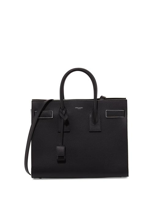 Item - Sac de Jour Small Black with White Lining Calfskin Leather Satchel
