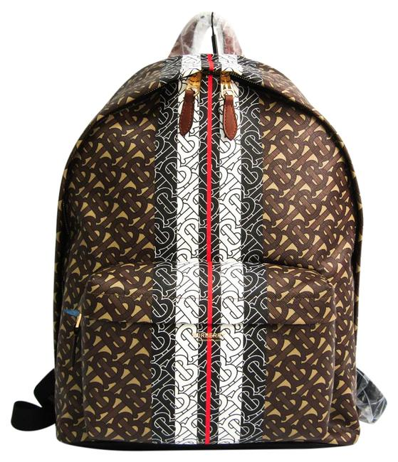 Item - Tb Monogram Stripe Print 8018651 Unisex Beige / Black / Dark Brown / Red Color / White Leather / Pvc Backpack