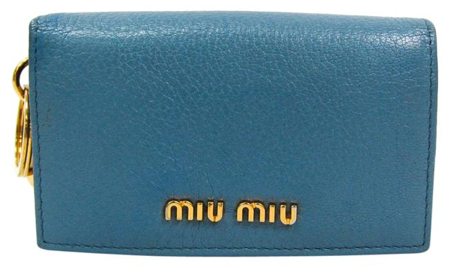 Item - Blue 5m1407 with Madras Key Ring Leather Card Case Wallet