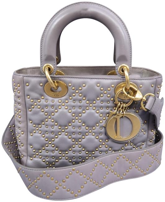 Item - Lady Studded Small Grey Lambskin Leather Shoulder Bag