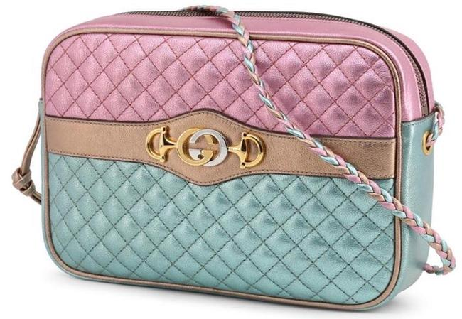 Item - Camera Marmont New Gg Quilted Tote Pink Blue Gold Leather Cross Body Bag