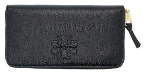 Tory Burch TORY BURCH BLACK LEATHER THEA ZIP CONTINENTAL WALLET MSRP $235