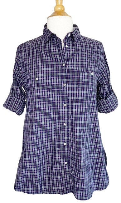 Item - Blue Plaid Roll Tab Sleeve Pocketed Button Up S Button-down Top Size 6 (S)