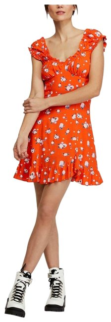 Item - Orange XS Womens New Floral Flare (Xs Combo Mid-length Short Casual Dress Size 2 (XS)