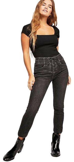 Item - Black Medium Wash As Night Crvy High-rise Lace-up Womens Skinny Jeans Size 28 (4, S)