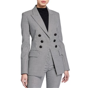 Item - Black and White Leon Houndstooth Dickey Double Breasted Jacket Blazer