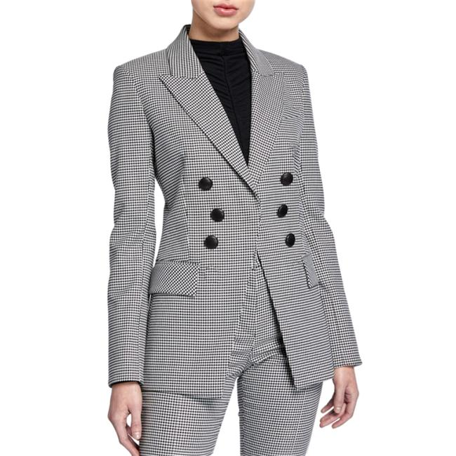 Item - Black and White Leon Houndstooth Dickey Double Breasted Jacket Blazer Size 12 (L)