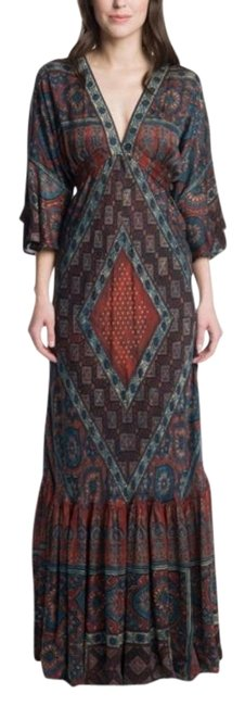 Item - Red Blue Brown Woodblock Border Print Long Casual Maxi Dress Size 4 (S)