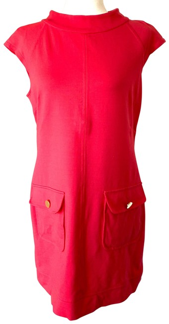 Item - Pink Red Coral Salmon Cap Sleeve Career Shift Mid-length Work/Office Dress Size 10 (M)