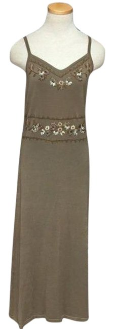 Item - Brown Tan Embroidered Sleeveless Long Casual Maxi Dress Size 4 (S)