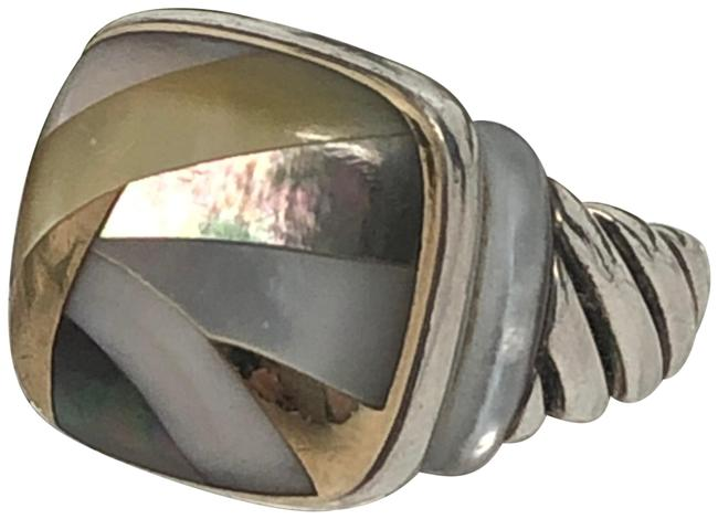 Item - 925 18k Gold Mother-of-pearl Abalone Shell Inlay Ring