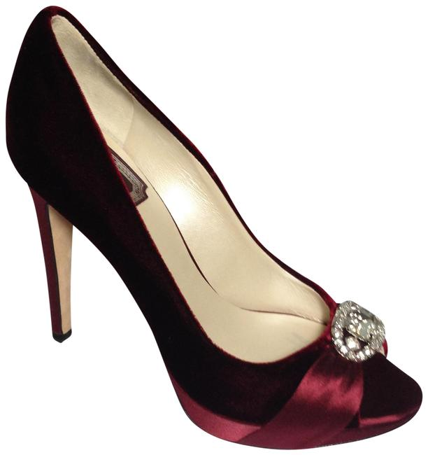 Item - Ruby Red Velvet/Satin Evening Pump with Jewels Formal Shoes Size EU 36 (Approx. US 6) Regular (M, B)