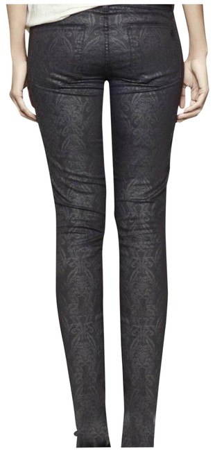 Item - Black Dark Rinse Honour Floral Lattice Skinny Jeans Size 28 (4, S)