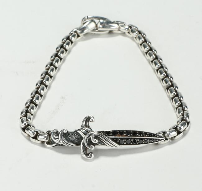Item - Silver W Waves Dagger Bracelet W/ Black Diamonds Men's Jewelry/Accessory