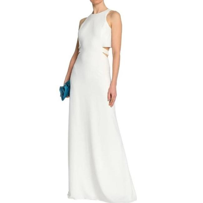 Item - Ivory White Cutout Crepe Gown Long Formal Dress Size 10 (M)
