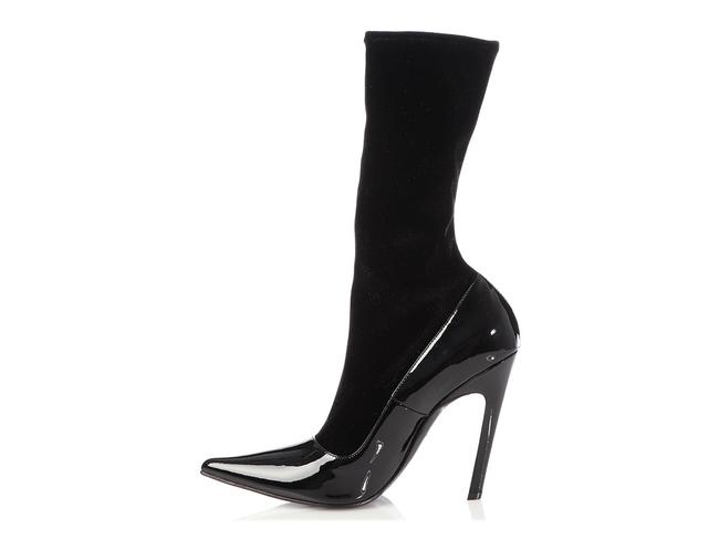 Item - Black Patent Leather and Velvet Knife Boots/Booties Size EU 39 (Approx. US 9) Regular (M, B)
