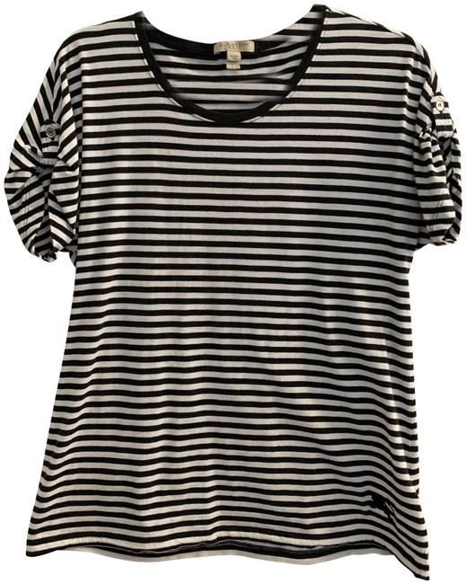 Item - Black and White Tab Sleeve Tee Shirt Size 6 (S)