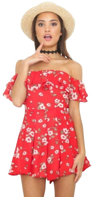 Item - Red All My Life Floral Playsuit Romper/Jumpsuit