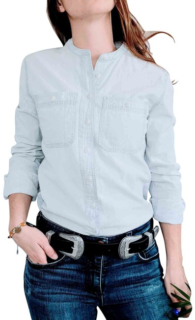Item - Blue Light Wash Denim Chambray Casual Equestrian Shirt Button-down Top Size 2 (XS)