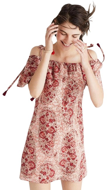 Item - Red Silk Cold Shoulder In Watercolor Paisley Short Casual Dress Size 6 (S)