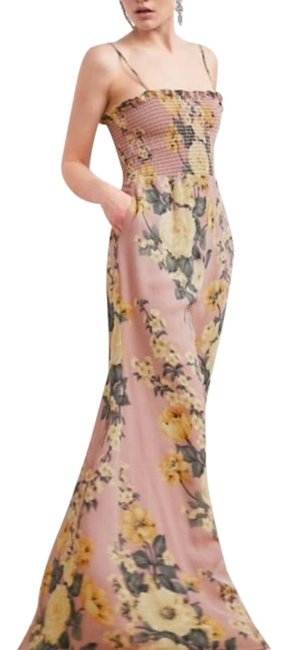 Item - Pink Yellow Green Antoinette Print Ceylon Long Formal Dress Size 0 (XS)