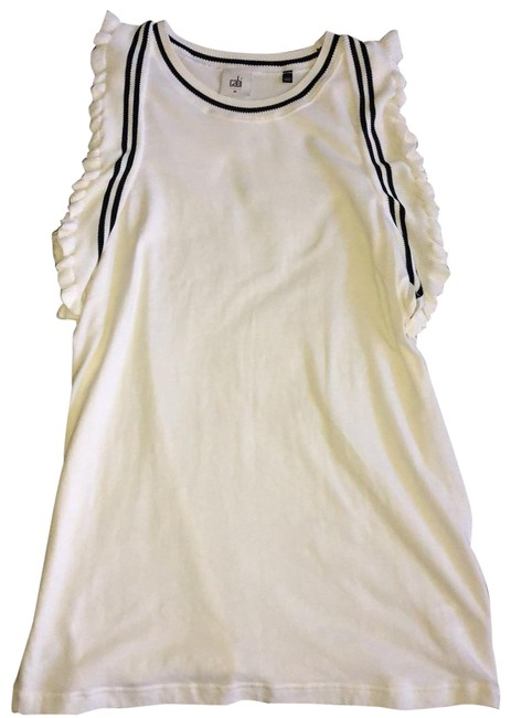 Item - White with Navy Contrasting Flutter Sleeves Tunic Size 10 (M)