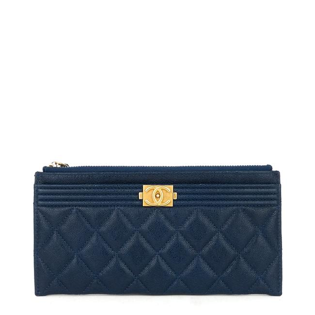 Item - Navy Boy Case Caviar Leather Wallet