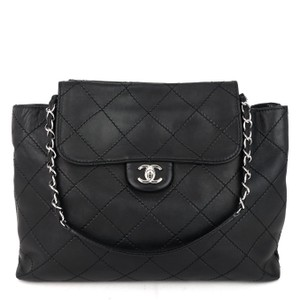 Item - Classic Flap Wild Stitch Double Sided Black Lambskin Leather Satchel