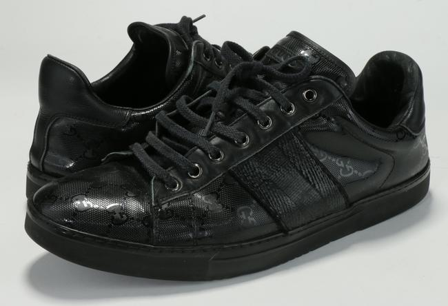 Item - Black Men's Sneakers Lace-up Trainers Gg Imprime Leather Trim Shoes