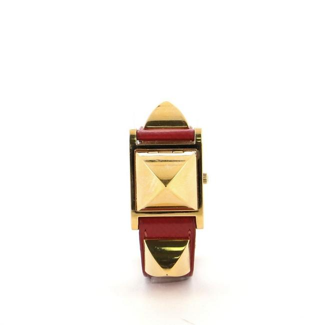Item - Red Medor Quartz Plated Metal and Leather 23 Watch